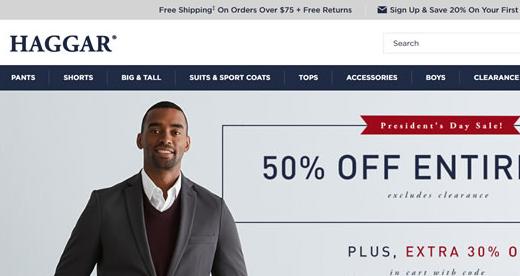 Haggar美国官网:美国男装品牌Haggar美国官方海淘网站