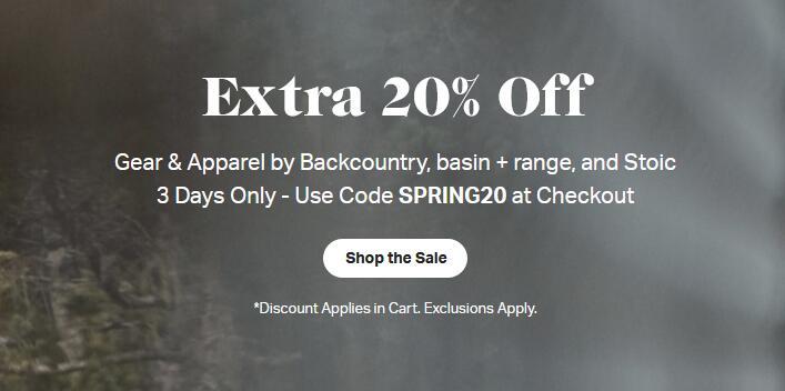 Backcountry美国官网精选户外产品低至3折+额外8折优惠!
