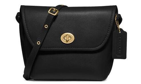 Coach蔻驰Originals Leather Turnlock女士斜挎包 黑色5折$125