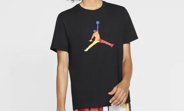 AIR JORDAN彩色飞人Logo男款T恤凑单价$14.99 黑白两色可选!