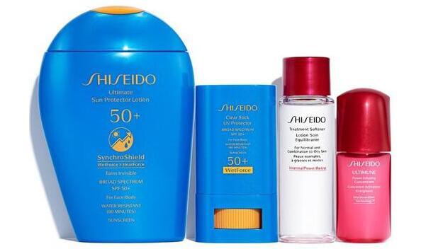Shiseido资生堂新款蓝胖子+果冻防晒膏套装(价值$112)售价$77+赠7件套