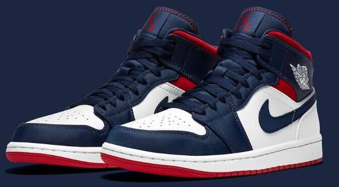 码全!Jordan AJ 1 Mid美国队长 奥运海军蓝男款篮球鞋售价$125