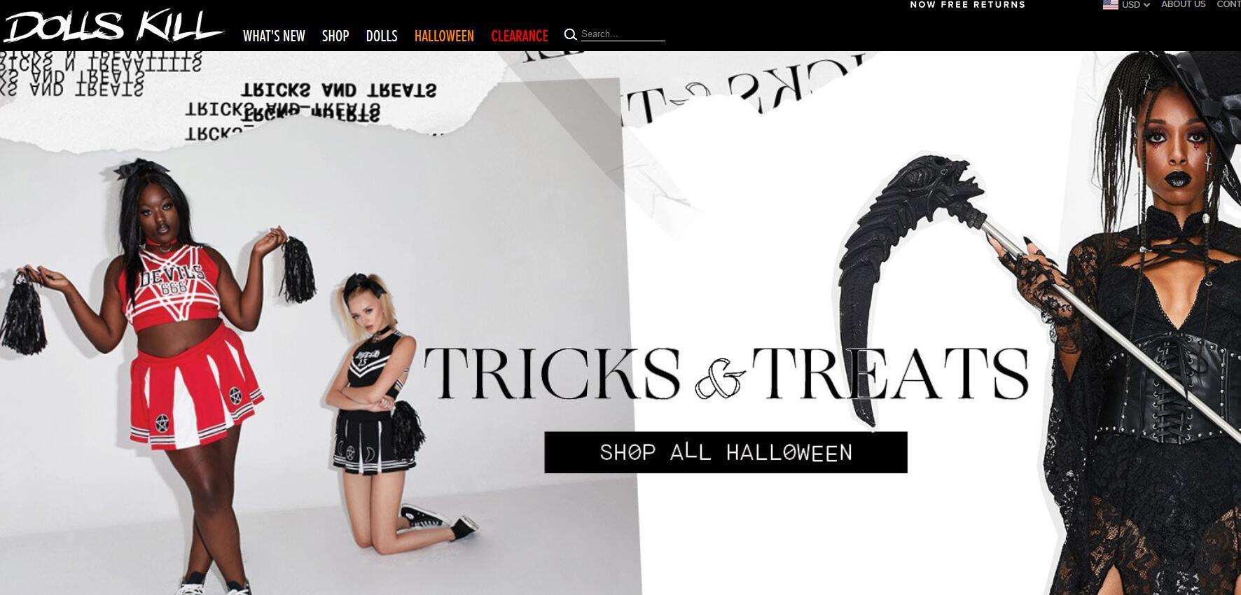 DollsKill美国官网  Dolls Kill网站专注于古怪风格服饰